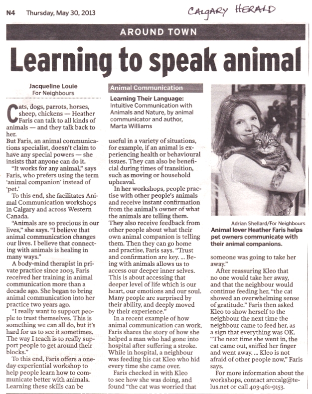 learning to speak animal article