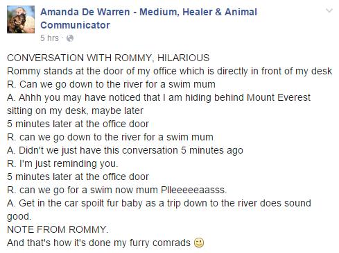dog and mom conversation via amanda dewarren